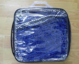 A blue cargo net is packed in the PE bags