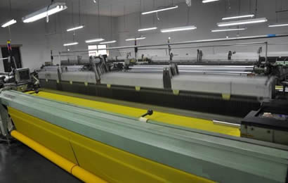 2 rolls yellow polyester nets are producing in factory