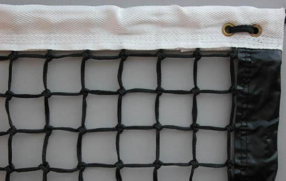 A piece black tennis net with white head band and side band details