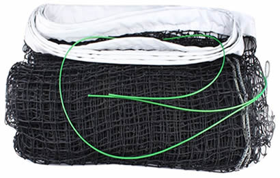 A piece black tennis net with white head band and green coated steel cable details