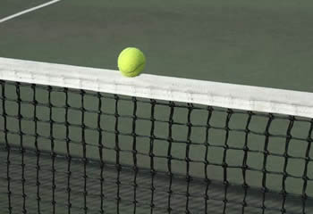 A piece black tennis net with a yellow ball on it